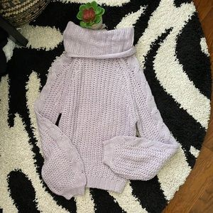 NWT Planet Gold Lilac Cowlneck Knit Sweater Small